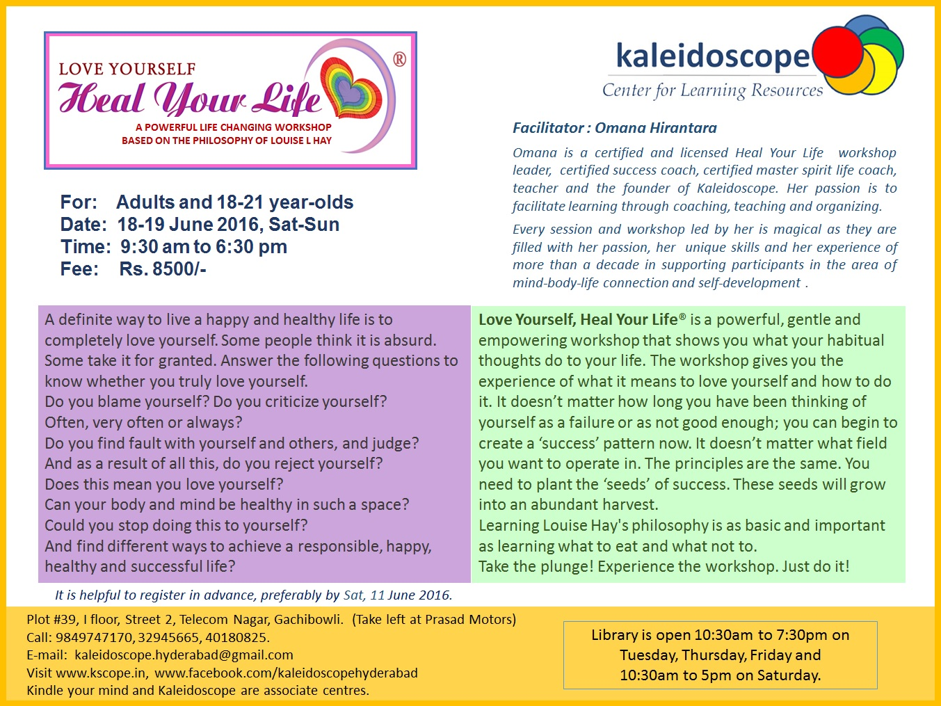 LoveYourself-HealYourLife Workshop Brochure-1 18-19 June 2016