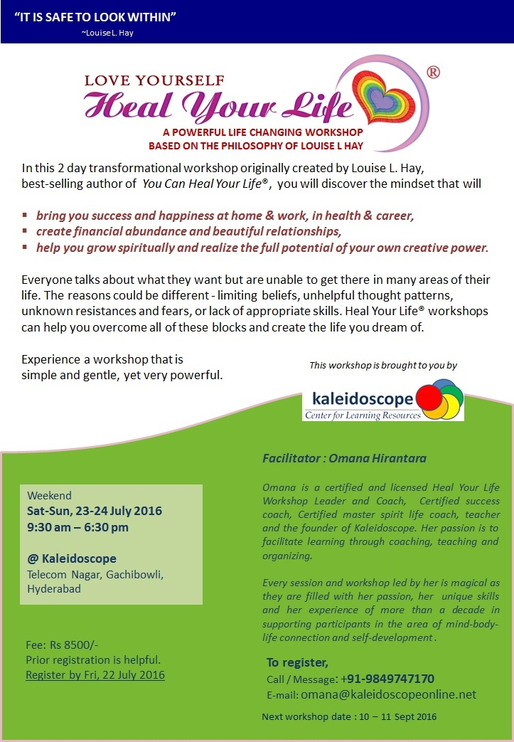 LoveYourself-HealYourLife Workshop Brochure-4 23-24 July 2016